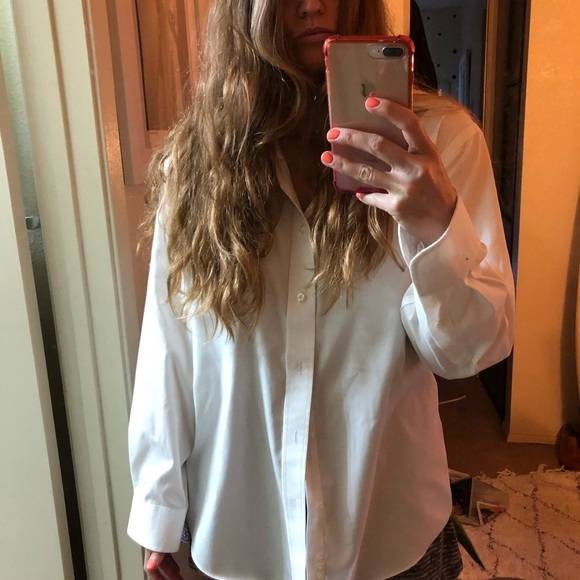 croft & barrow Tops - No-iron bf slouchy fit white collared button down